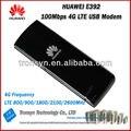 Venta caliente original unlock 100 mbps huawei e392 4g lte usb modem soporte lte fdd b1 b3 b7 b8 b20