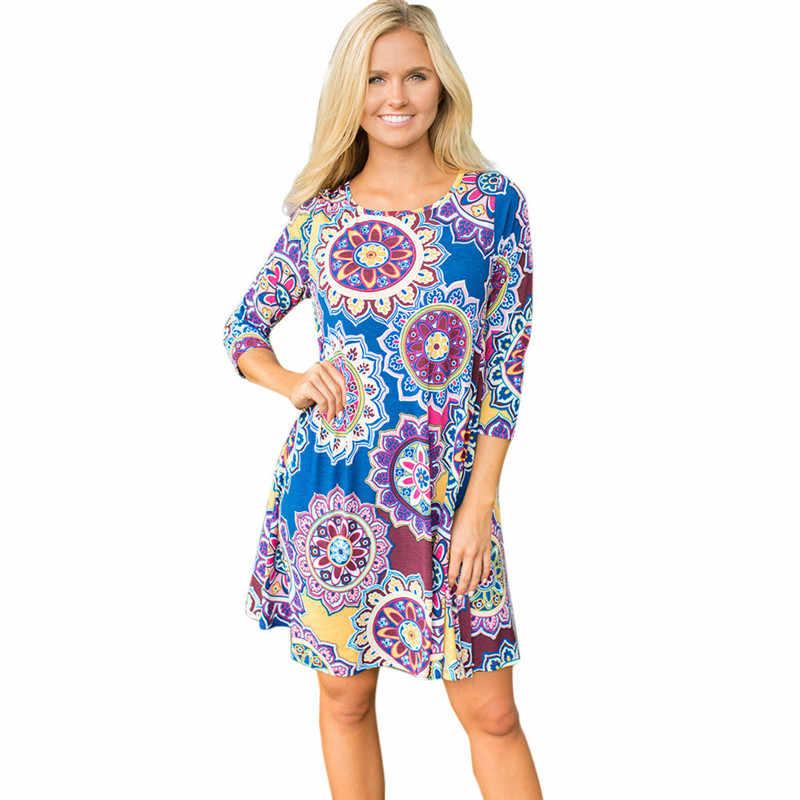 e3da65e6042 2019 Women Summer New Fashion Dresses Cotton Bohemian Print Party Beach  Floral Dress Sexy Beach Party