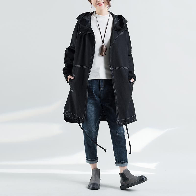 Trench   Coat For Women Plus Size Women's Long Windbreaker Spring Autumn Female Fashion Black Color Hooded Coat Cloak Outerwear