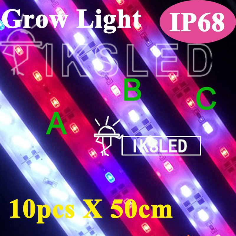 2015 New 10pcs*0.5m Led bar rigid strip DC12V grow light for a quariumhydroponics growing 5630 IP65 waterproof Red and blue