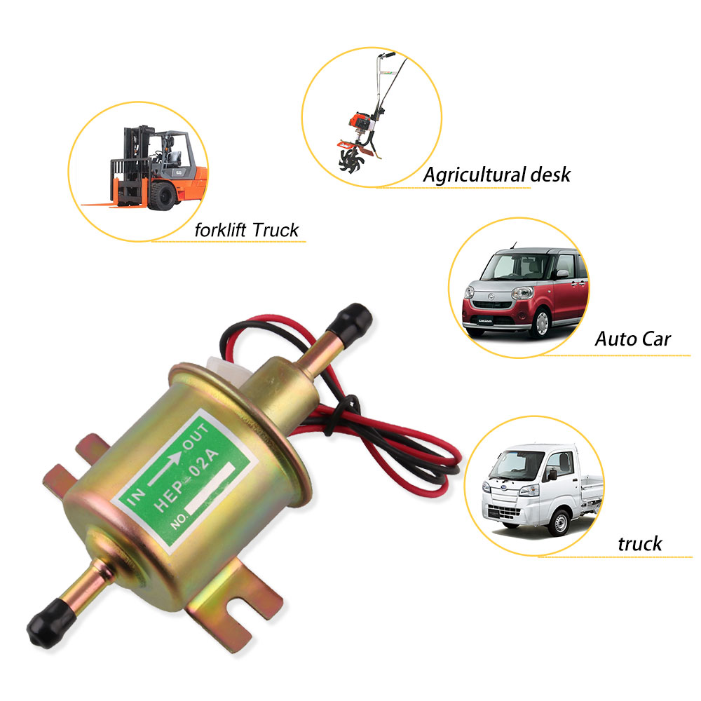 Image 3 - Fuel Pump 12v Electric Petrol Pump Low Pressure Bolt Fixing Wire Diesel HEP 02A Set Metal Gold Silver 8mm FP009-in Fuel Pumps from Automobiles & Motorcycles