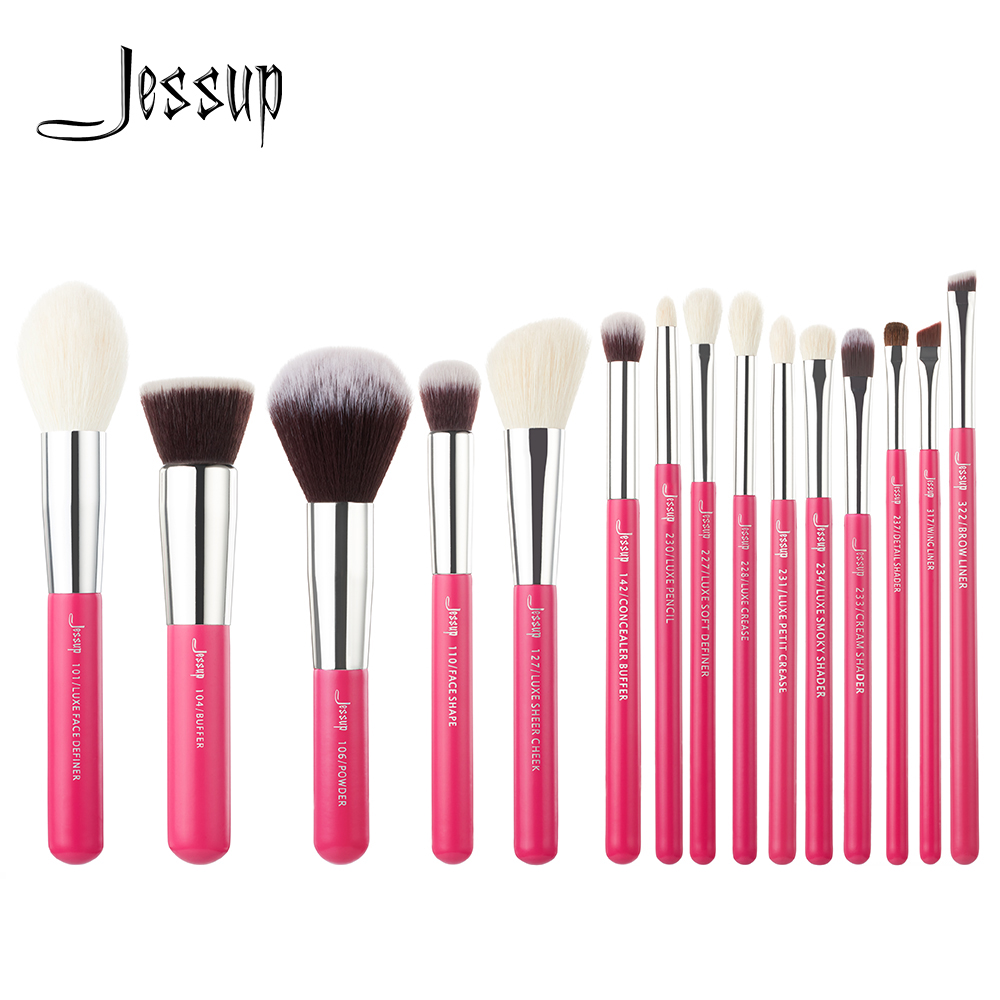 Jessup Rose-carmin/Silver Professional Makeup Brushes Set Beauty Tools Make up Brush kit Foundation Powder Definer Shader Liner jessup brand 25pcs beauty bamboo professional makeup brushes set make up brush tools kit foundation powder blushes eye shader