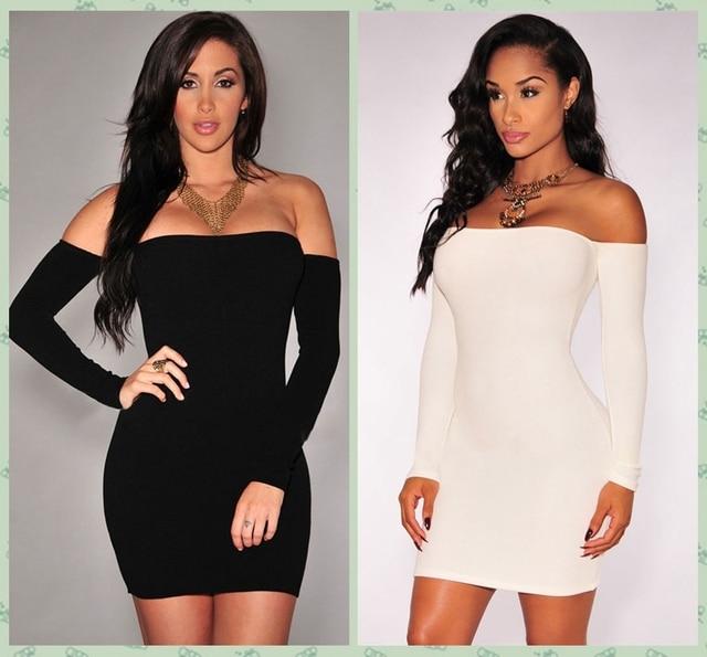 c84ae3e3e7a Women Sexy Bandage Dresses White/Black Off Shoulder Long Sleeve Slim Stretch  Evening Party Bodycon Mini Dresses Club Wear R22443