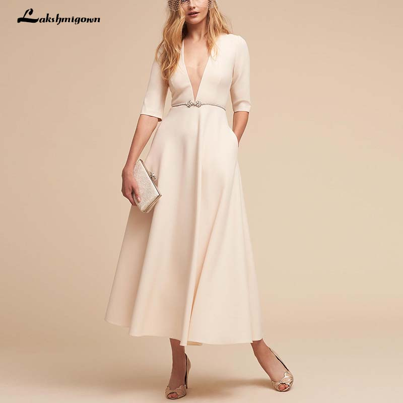 2019 Deep V neck Beach Wedding Dresses Half Sleeves Ankle Length Bridal Gowns with Sashes Robe