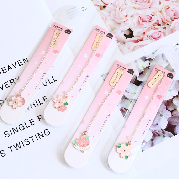 Novelty Cherry Sakura Pendant Bookmark Stationery School Office Supply Escolar Papelaria