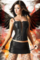 Corsage Luciferia mit Rock 3S9039 Faux leather lingerie +Free shipping black imitation leather corset