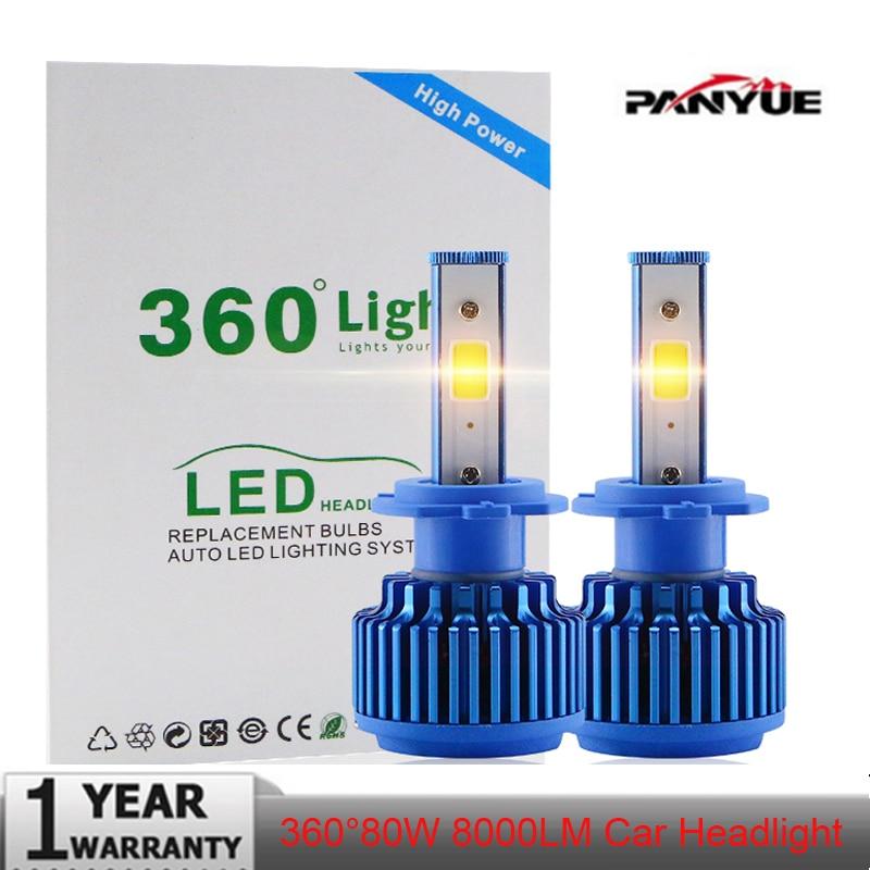 PANYUE Super bright Headlight Headlamp 360 280 degree fix 12 24V COB Conversion kit 8000lm 6000k