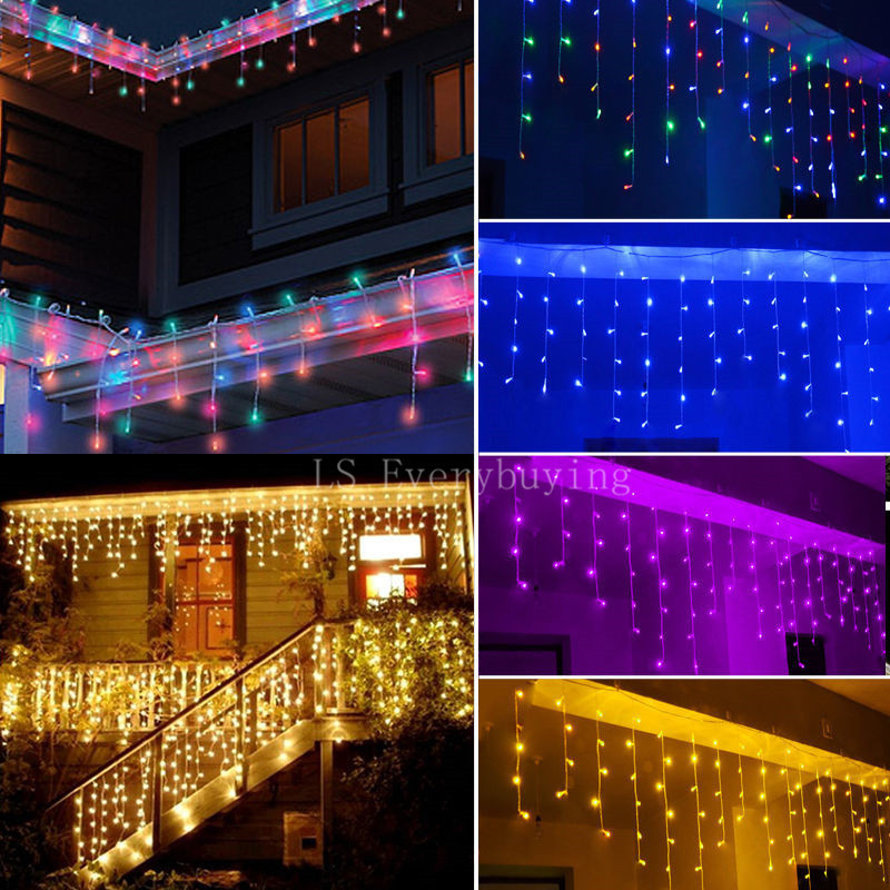Image 2 - 1x Christmas Lights Outdoor Decoration 5m Droop 0.4 0.6m Led Curtain Icicle String Lights New Year Wedding Party Garland Light-in LED String from Lights & Lighting on