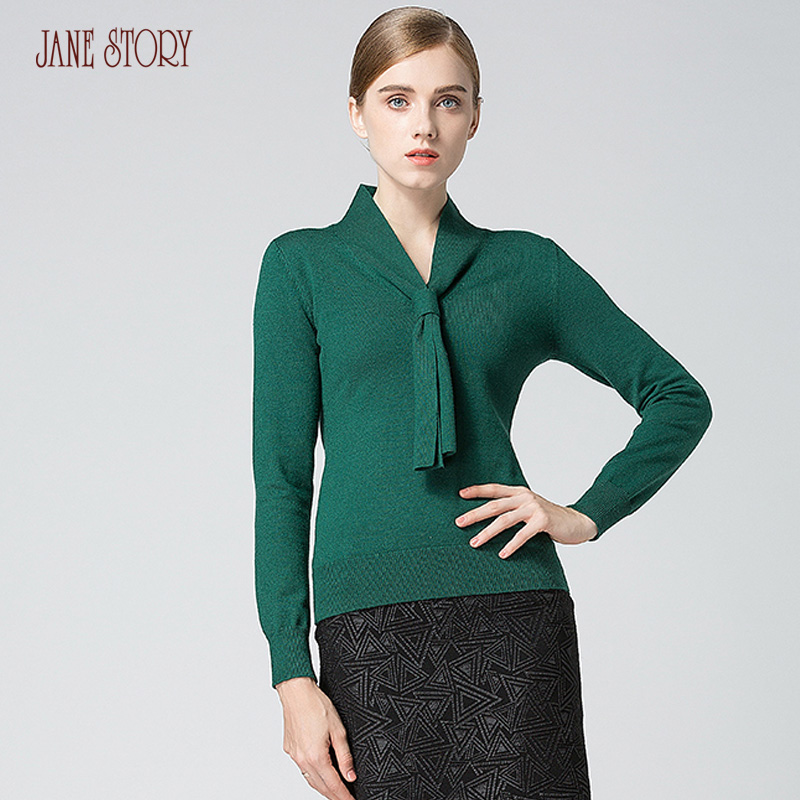 Jane Story Women Winter Sweater Special Design Neck Long Sleeve Elegant Solid Color Pullover OL Style Office Lady Sweater Top