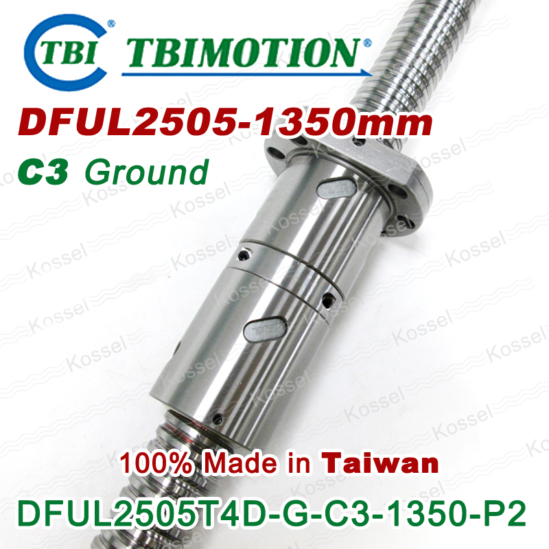 TBI left Rotation 2505 -L 1350mm Customized Grinding Ballscrew DFU2505 ball screw with one Double ball nut  diy CNC machine tbi 2510l c3 left rotation 1450mm customized grinding ballscrew dfu2510 ball screw with one double ball nut diy cnc machine