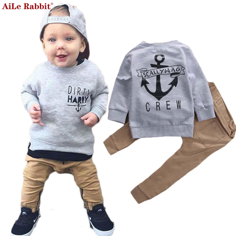 AiLe Kaninchen Neue Jungen Kleidung Anzug Mode T-shirt Hosen 2 teile/satz Langen Ärmeln Herbst Briefe Navy Kinder Kleidung der k1