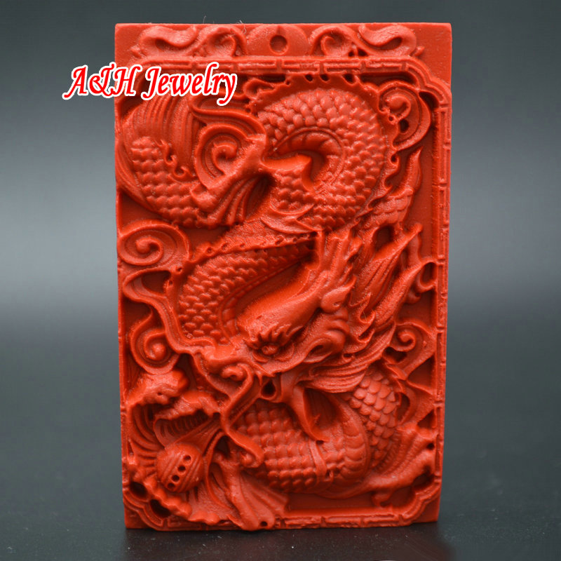 Natural Red Cinnabar Carving Lacquer Chinese Wealth Guan Gong Pendant Necklace