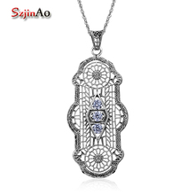 Szjinao Wholesale Round Zircon Vintage Long Pendant Fashion Women Manufacture Victoria 925 Sterling Silver Halloween Jewelry