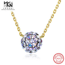 Cubic Round Ball Crystal From Swarovski Pendant Necklace For Women Exquisite 925 Sterling Silver Fine Jewelry Wedding Party Gift цена в Москве и Питере