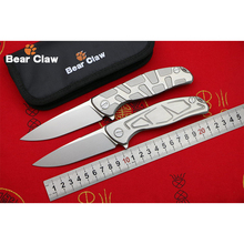 BEAR CLAW F95 S&T Drawing D2 blade Titanium handle Flipper folding knife Outdoor camping hunting pocket fruit knives EDC tools