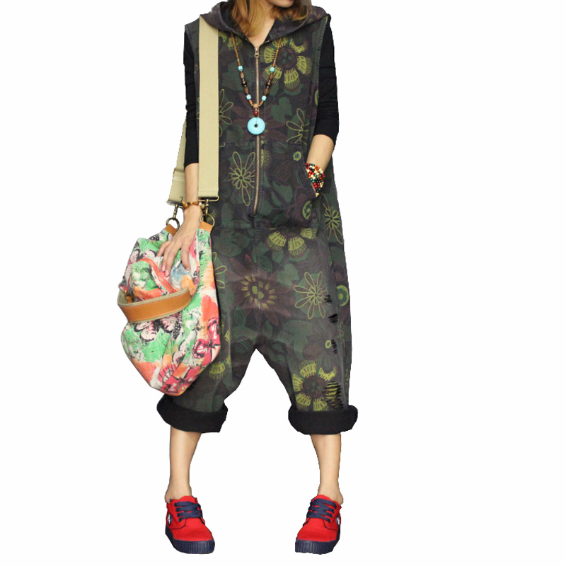 Free Shipping 2018 New Arrival Spring And Autumn Jumpsuit Personality Plus Size Bib Pants With A Hood Denim Loose Harem Pants стоимость