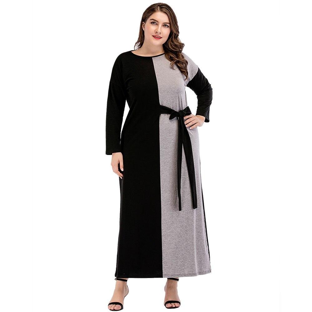 Mousseline de soie Kaftan Grande Cour Femmes de Moyen-Orient Musulman de Femmes Col Rond Contraste Ceinture Couture Robes Musliman Robes Ramadan