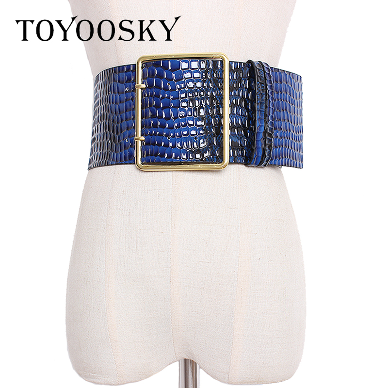 Luxury Crocodile Pattern Super Wide Belt Women Girdle Strap For Coat Gold Buckle PU Leather Wide Belt Girdle For Women Coat