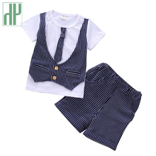 Summer children clothing wedding suits for baby boys gentleman Party Suits Outfits Sets striped tie shirt+Pants kids costume