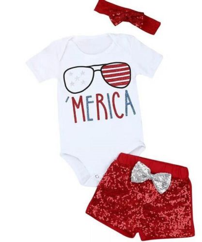 Kids Bbay Boys Girls Clothes Sets Outfits Infant Baby Girls Romper Shorts Headbands 3Pcs ...