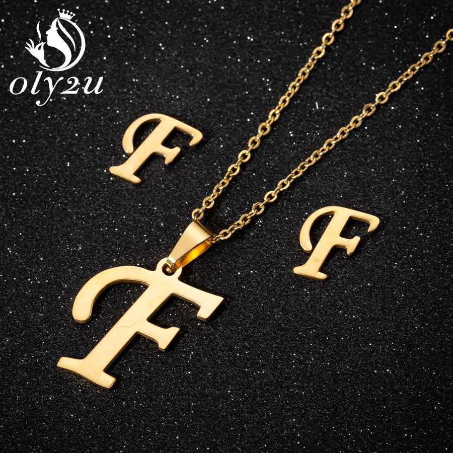 Oly2u Latter Pendant Necklace Earrings Jewelry Sets For Women Stianless Steel Long Chain Necklace Stud Earrings Jewellery Set