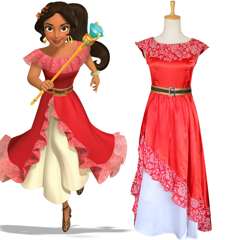 Adult  Woman Princess Elena Red Dress Elena of Avalor Costume Halloween Cosplay Costume Role Play Party Dancing Fancy Dress