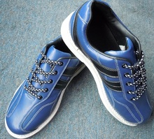 hot sale unisex leather blue professional bowling shoe