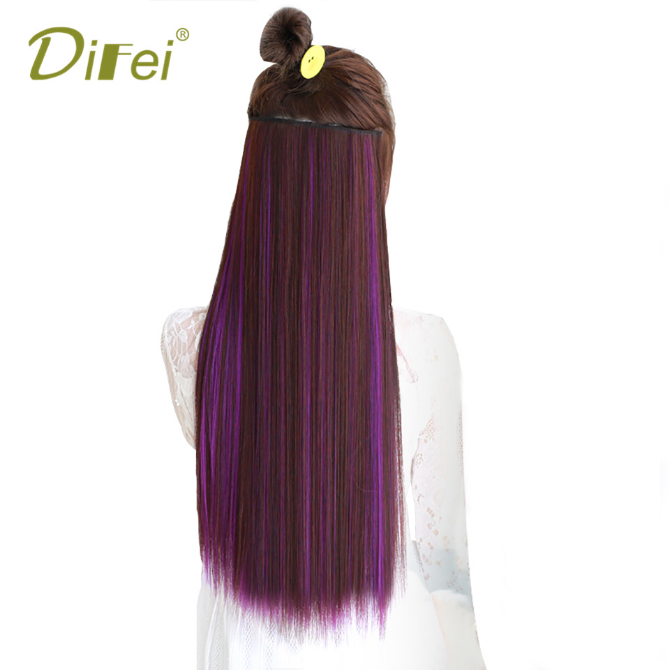 DIFEI Long Straight 5 Clip Hair Extension High Temperature Synthetic Fiber 5 Clip Hair Extension for Women ...
