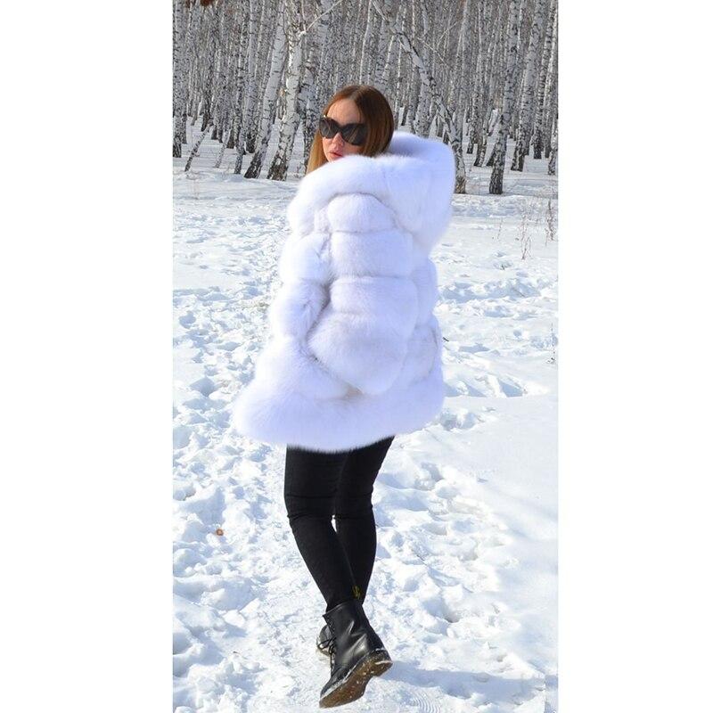 Dame Blanc Fourrure Épais Femmes Réel Mode Russe Naturel Manteau Renard Veste Chaud Capuche De Luxe Avec Topfur qw1aHH