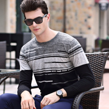 2017 New Arrivals Autumn Men Stripe Pullover Sweater Men's Long Sleeve Sweater Clothing Casual Slim Fit Pullover O Neck Sweater