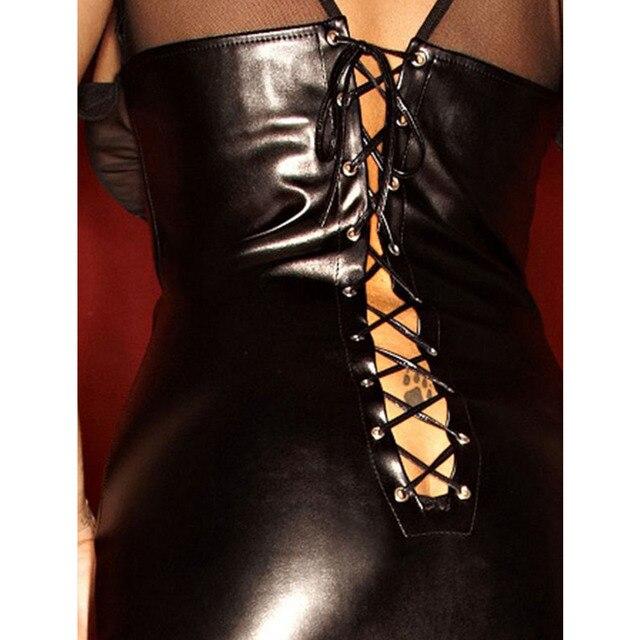 Women Clubwear Party Dress Ladies Wet Look Exotic Vinyl Leather Waist Long Dress V-Neck Long Sleeve Floor Length Maxi Dresses 6