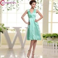 Bridesmaid Dress 2018 Satin Knee length V neck Plus Size Women A Line Sleeveless Wedding Guest Party Dresses