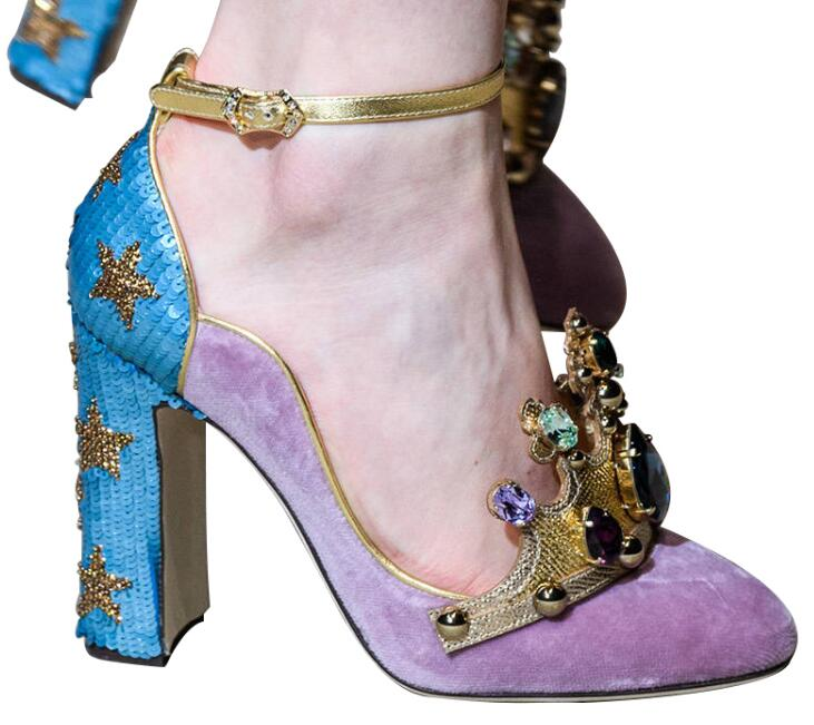 Couronne de luxe pierre gemme rose strass boucle étoile paillettes chunky chaussures à talons hauts en cuir femmes chaussures de mariage vraies photos