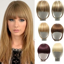 New Hairstyle Clip in Bangs Fake Hair Extension Hairpieces Hair Piece Clip on Front Neat Bang For Women Synthetic Fringe Bang
