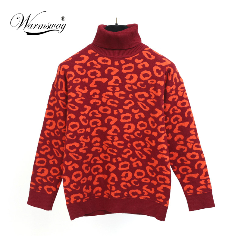 Women Sweater Pullover Knitted Tops Red Leopard Thicken Jumper Fahion Turn-down Collar Sweaters Autumn Winter C-093