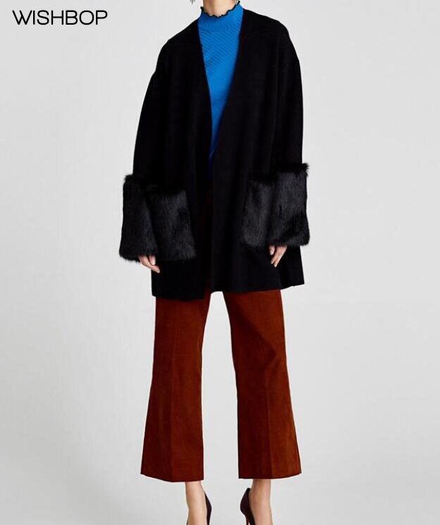 dfcbd1e8eed54 WISHBOP NEW 2018 Fashion Black COMBINED KNIT COAT long sleeves FAUX FUR  TRIMS V-neck