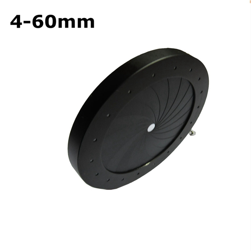 4-60 mm Amplifying Diameter Zoom Optical Iris Diaphragm Aperture Condenser with 18 Blades for Digital Camera Microscope Adapter