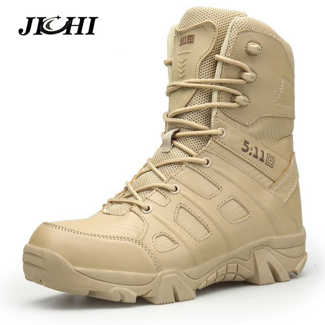 JICHI Erkekler Yüksek Kalite Marka Askeri Deri Çizmeler Özel Kuvvet Taktik Çöl Savaş erkek Botları Açık Ayakkabı yarım çizmeler