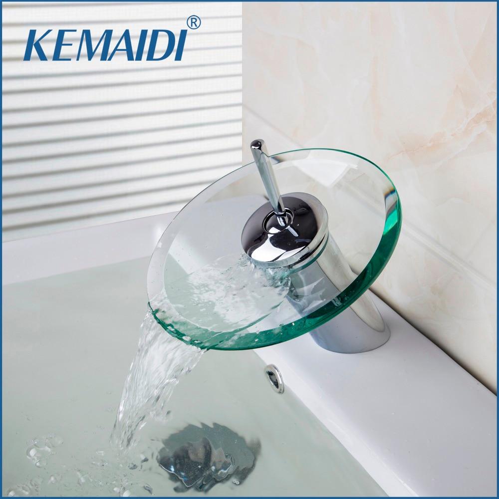 RU Stock Free Shippng Basin Sink Faucet Waterfall Bathroom Glass Mixer Polished Chrome Kitchen Bathroom sink