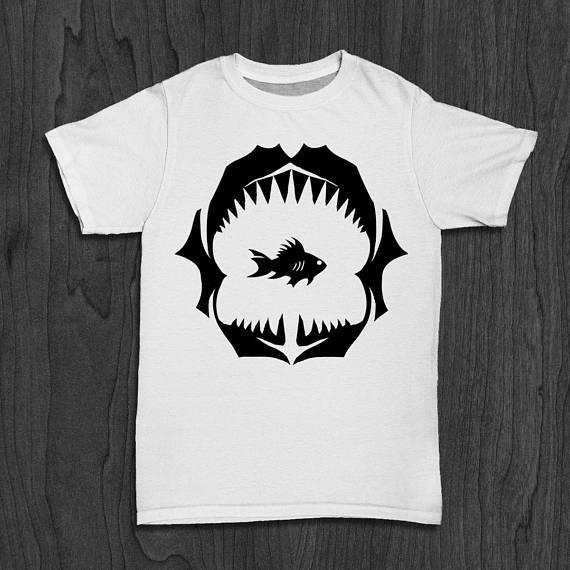 a3ff11f0d7b16 Shark Jaws Tee for Men Gold Fish Shirt Marine Life Tshirt Fish Tank Tee  Wildlife Shirt for Him-D050