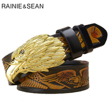 RAINIE SEAN Eagle Buckle Belt Men Real Leather Embossed Pin Male Black Luxury Genuine Cowhide Designer Belts 130cm