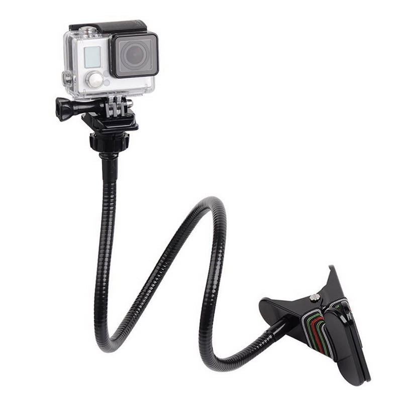 Caliente ajustable de 360 grados de rotación abrazadera con 70 cm Cisne extensión jaw clip soporte para GoPro Hero 4 3 + 3 2 sjcam