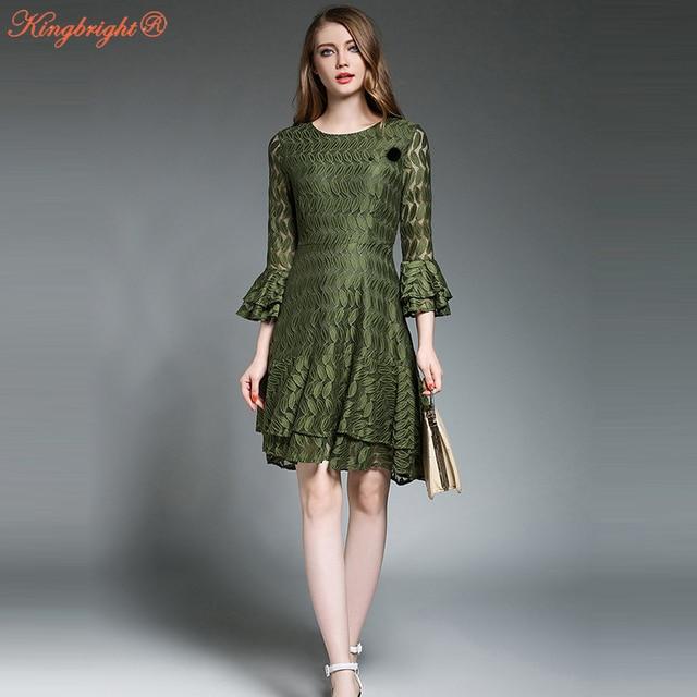 f5cd599e844e King Bright Sexy Club Dress 2017 Yellow/Green Lace Print Celebrity  Asymmetrical Dress Flare Sleeve Slim Hollow Lace Mini Dress
