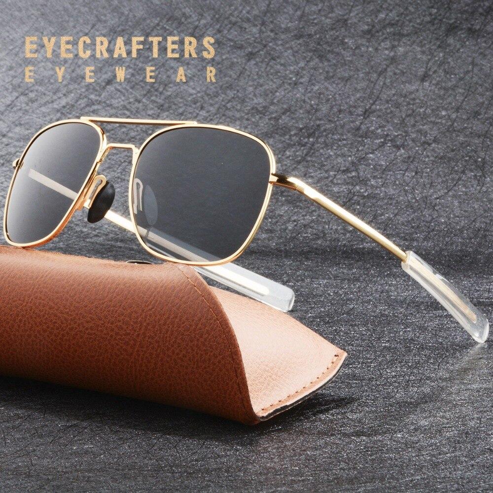 Eyecrafters Marque Designer lunettes de Soleil Polarisées Hommes Pilote Militaire lunettes de Soleil Conduite Miroir Lunettes Lunettes