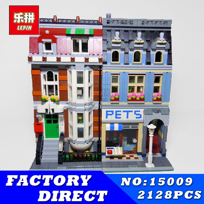 LEPIN 15009 2082pcs City Street Creator Series Pet Shop Model Building Blocks Bricks Lovely Toys Compatible 10218 Children Gifts
