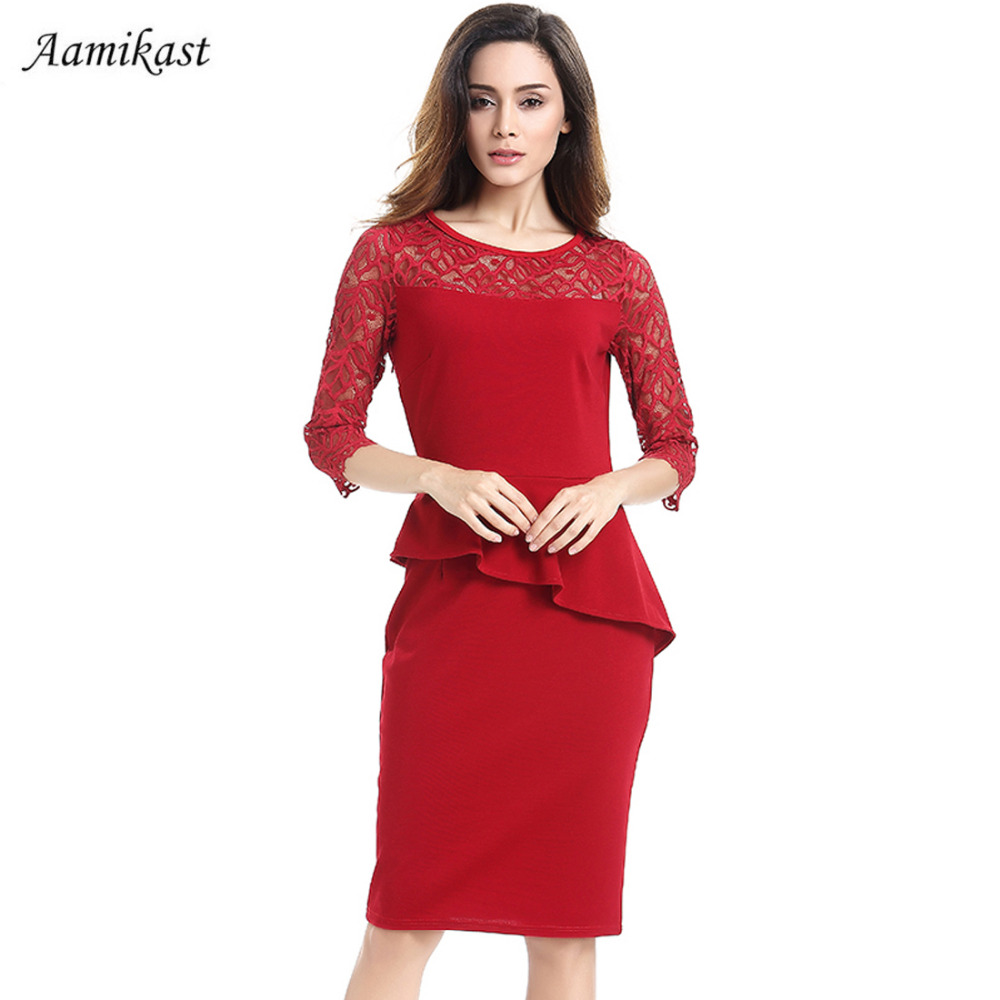 Women Lace Dresses New Fashion 2018 Elegant Hot Sale O-neck 3 4 Sleeve  Patchwork Ruffles Pencil Bodycon Party Wear To Work Dress a34f31bf0283
