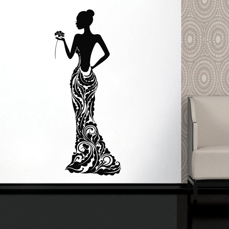 Beautiful African Woman Vinyl Sticker Model Girl Dress Rose Bobo Pattern Home Decor Ideas Room Interior Bedroom Wall Art MV01 in Wall Stickers from Home Garden