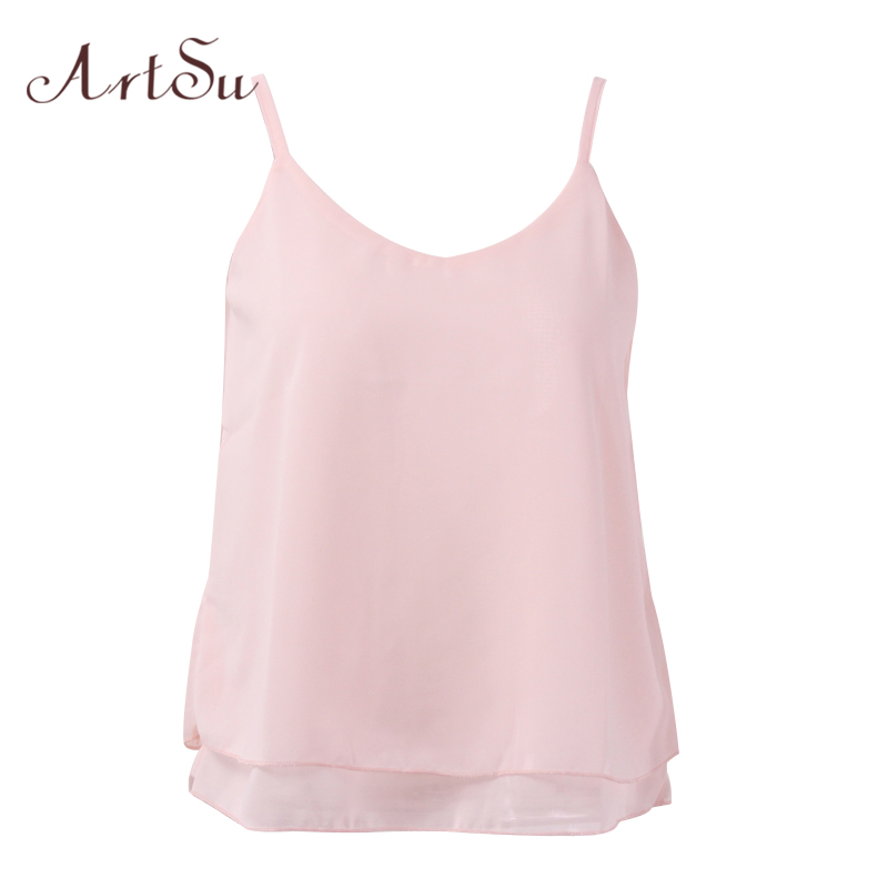 ArtSu Vrouwen Sexy Tank Tops Mouwloze Bodycon Temperament Blouse Vest Losse Chiffon Top Vest Casual Camis Dames Tanks LDVE60008