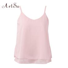 ArtSu Women Sexy Tank Tops Sleeveless Bodycon Temperament T shirt Vest Loose Chiffon Top Vest Casual