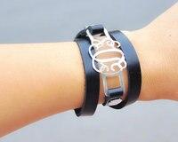 Wholesale Custom Men Bracelet Stack Leather Bracelet Silver Monogram Charm Personalized Wrap Bangle